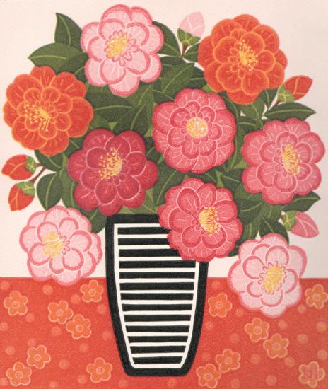 Kate Hudson_2012_Camellias and Striped Vase_reduction linocut_26x22cm