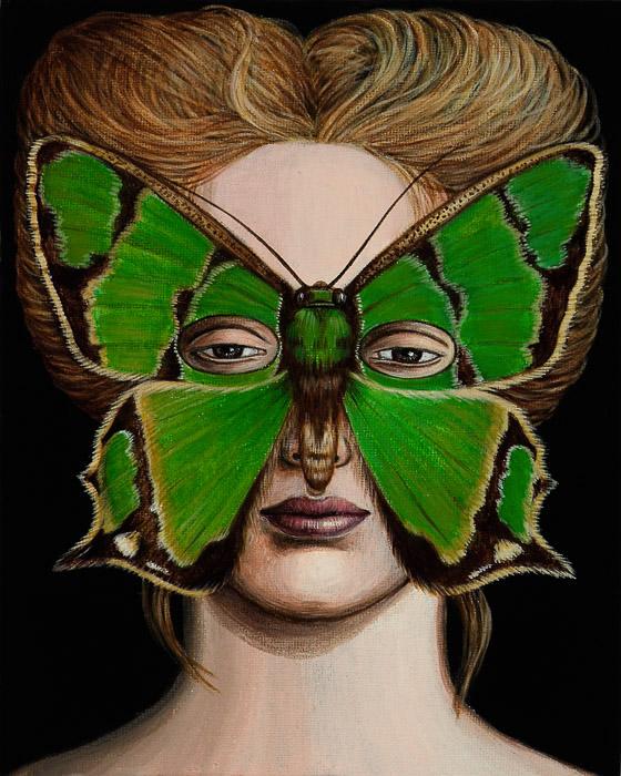 agathia_pisina_moth_mask_2007_acrylic_on_canvas_25_x_20_cm
