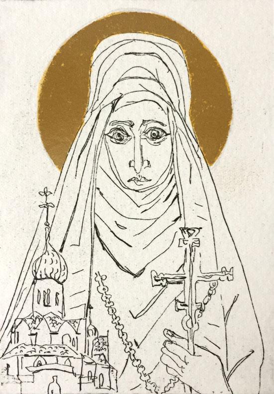 Soula-Mantalvanos-St-Elizabeth-etching-with-gold-leaf