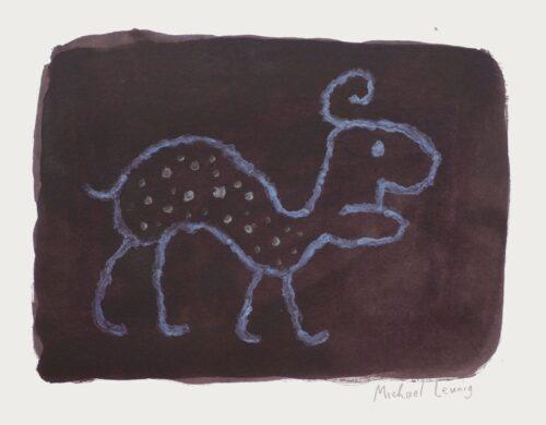 Michael Leunig BEAST GOING TO WORK, 2018, acrylic paint on paper, 24.5 x 31 cm